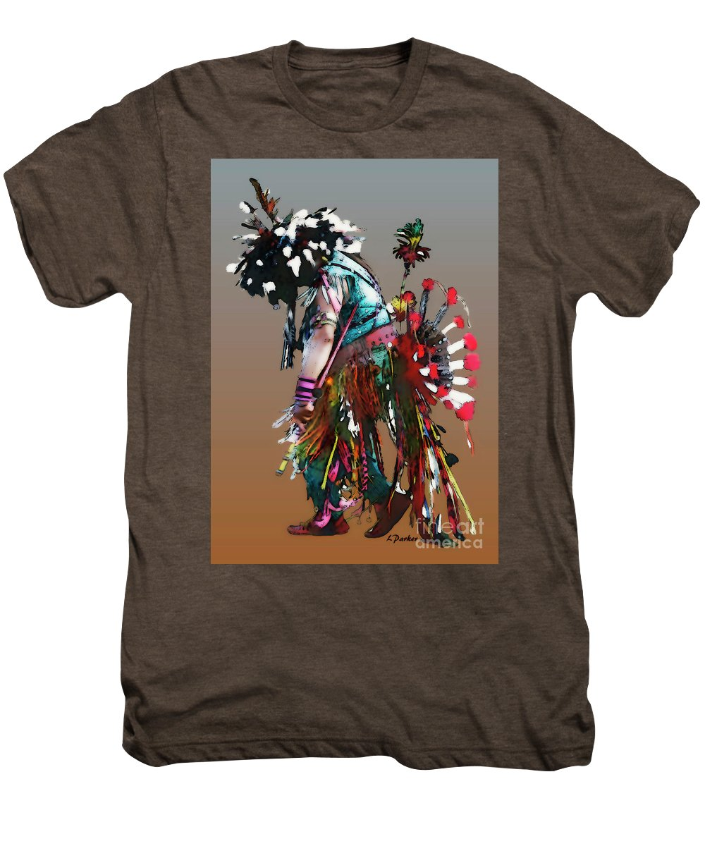 Abstract Men's Premium T-Shirt featuring the photograph Pow Wow Dancer by Linda Parker