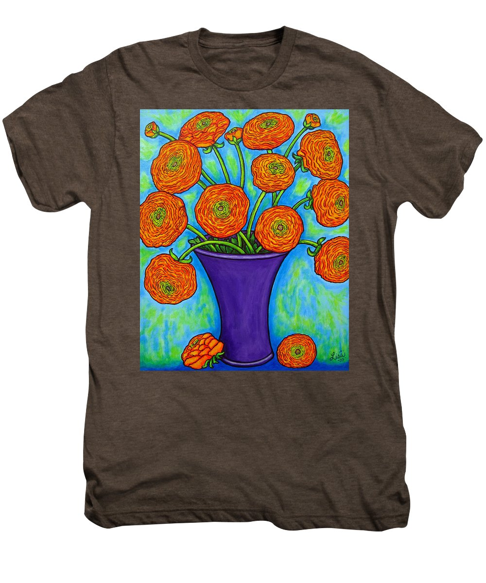 Green Men's Premium T-Shirt featuring the painting Radiant Ranunculus by Lisa Lorenz