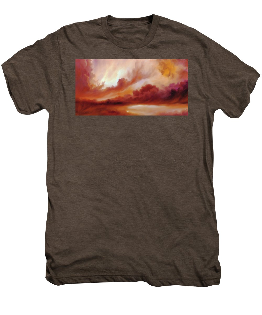 Skyscape Men's Premium T-Shirt featuring the painting Receding Storm Sketch IIi by James Christopher Hill