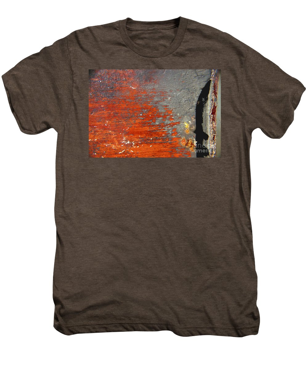 Red Men's Premium T-Shirt featuring the photograph Red And Grey Abstract by Hana Shalom