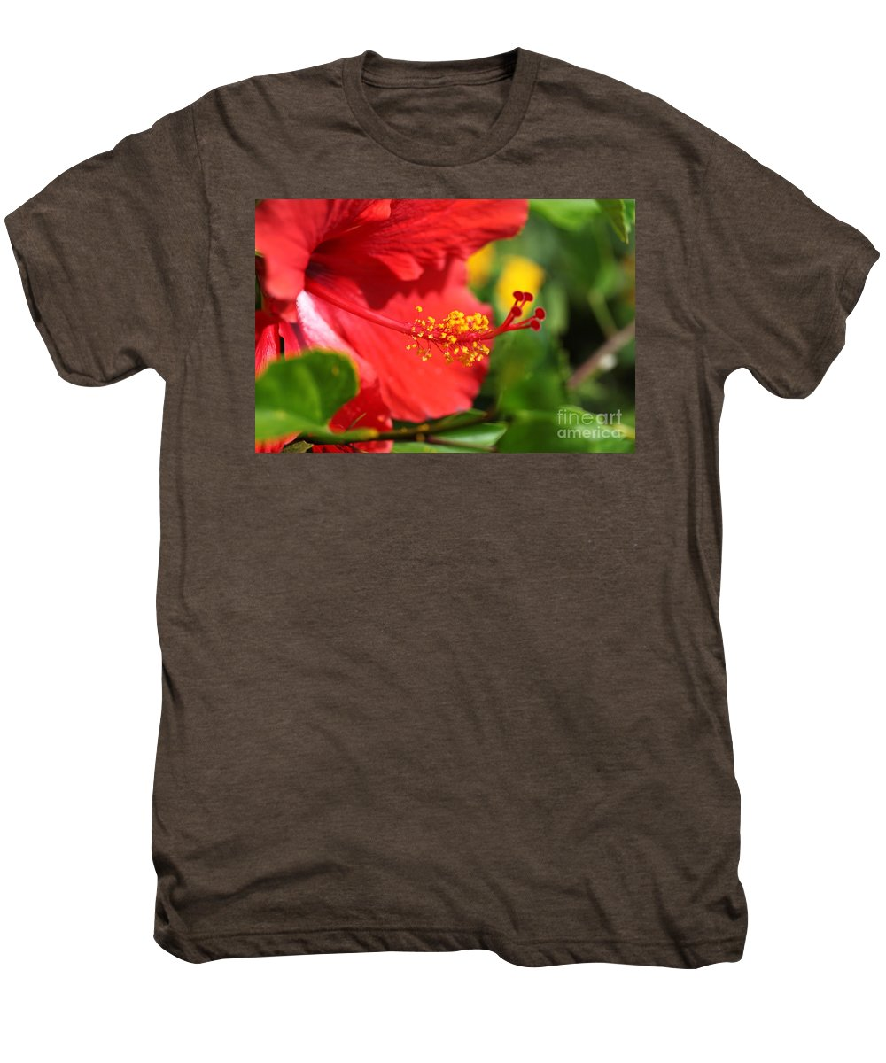 Flowers Men's Premium T-Shirt featuring the photograph Red Hibiscus And Green by Nadine Rippelmeyer
