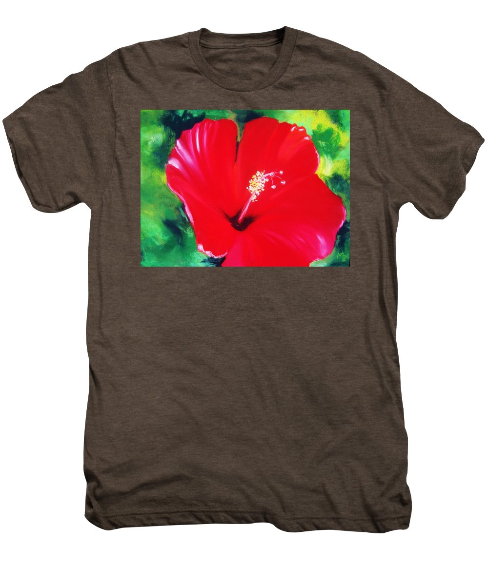 Bright Flower Men's Premium T-Shirt featuring the painting Red Hibiscus by Melinda Etzold