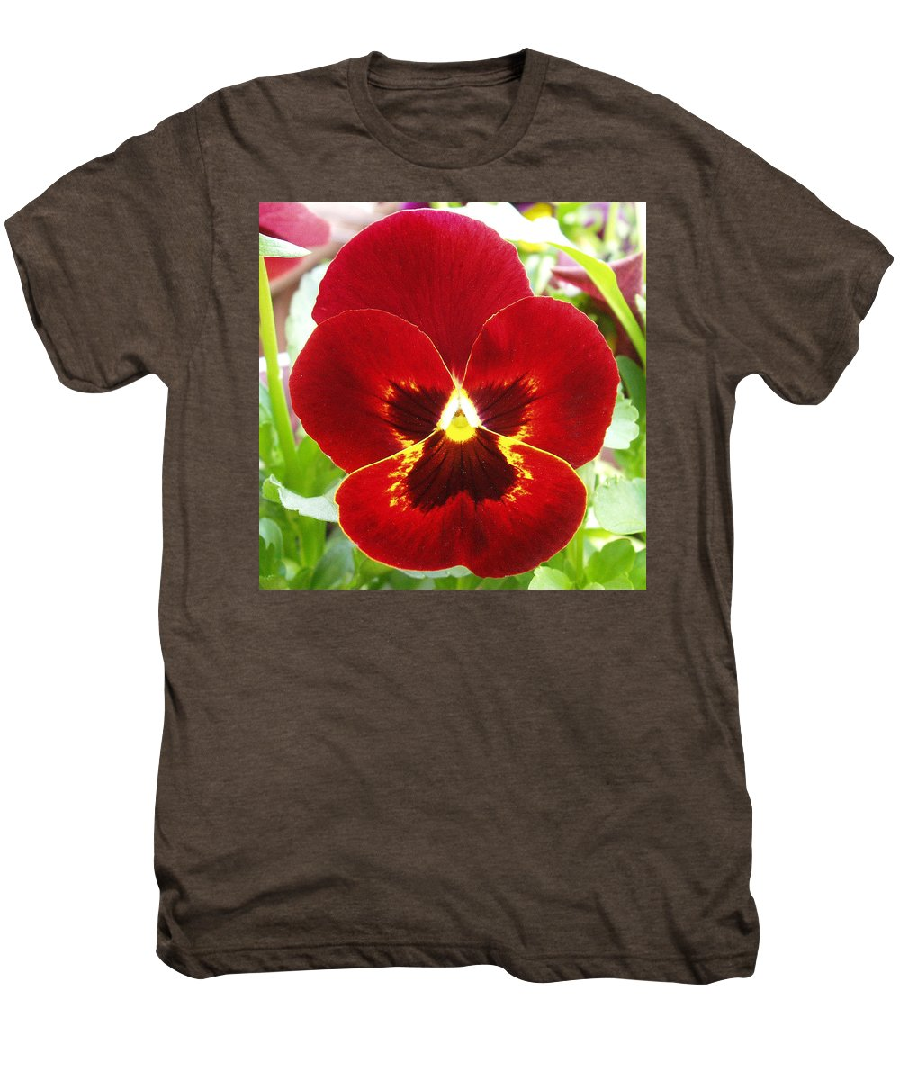 Red Men's Premium T-Shirt featuring the photograph Red Pansy by Nancy Mueller