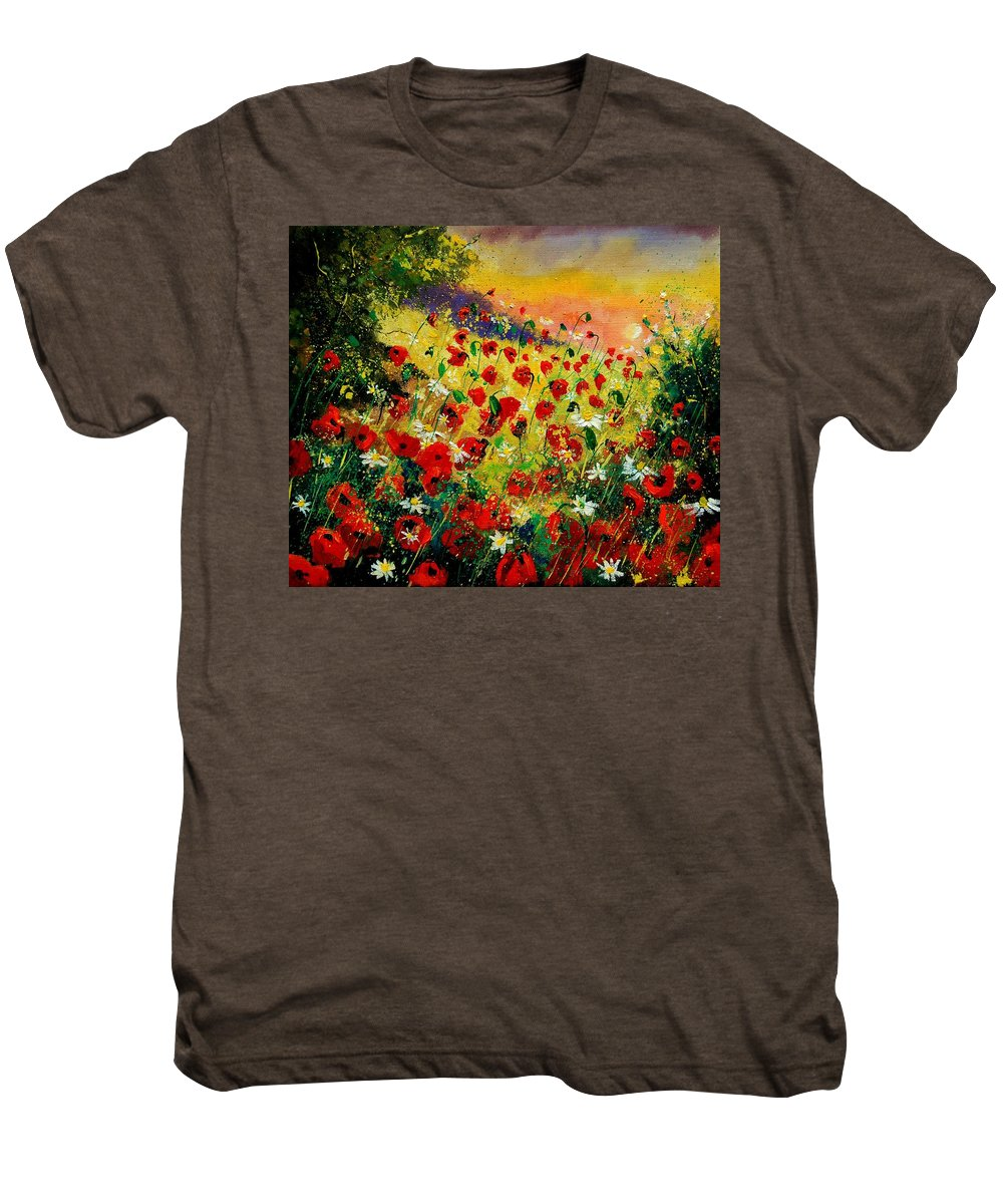 Tree Men's Premium T-Shirt featuring the painting Red Poppies by Pol Ledent
