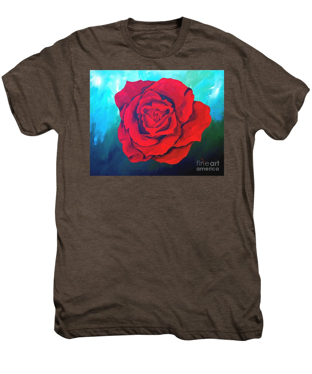 Red Rose Deep Red Rose 3d Ice Rose Men's Premium T-Shirt featuring the painting Red Velvet by Herschel Fall
