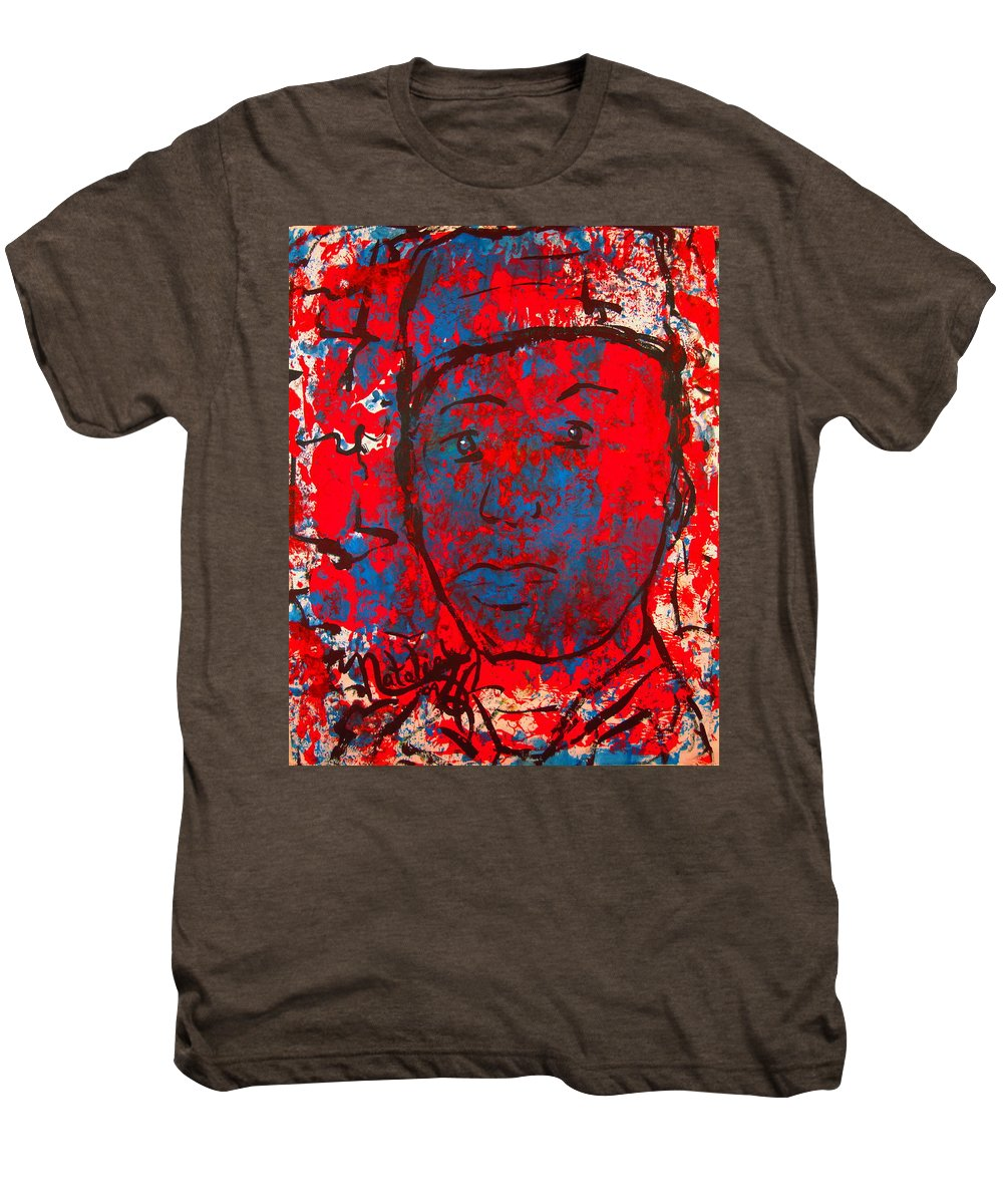 Man Men's Premium T-Shirt featuring the painting Red White And Blue by Natalie Holland