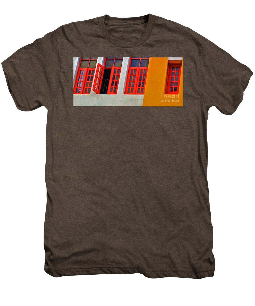 Windows Men's Premium T-Shirt featuring the photograph Red Windows by Debbi Granruth