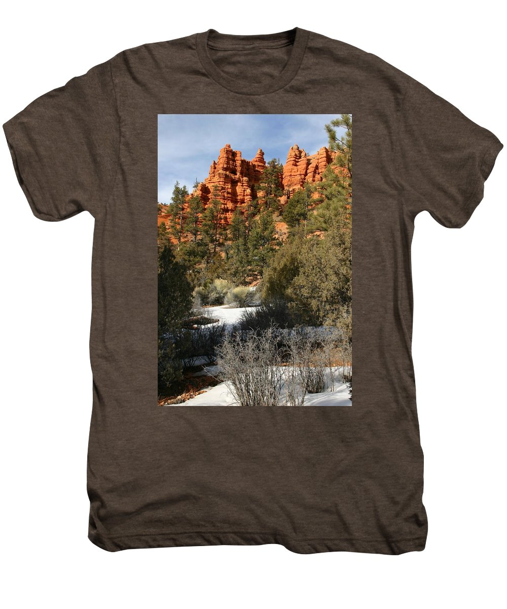 Red Rocks Men's Premium T-Shirt featuring the photograph Redrock Winter by Nelson Strong