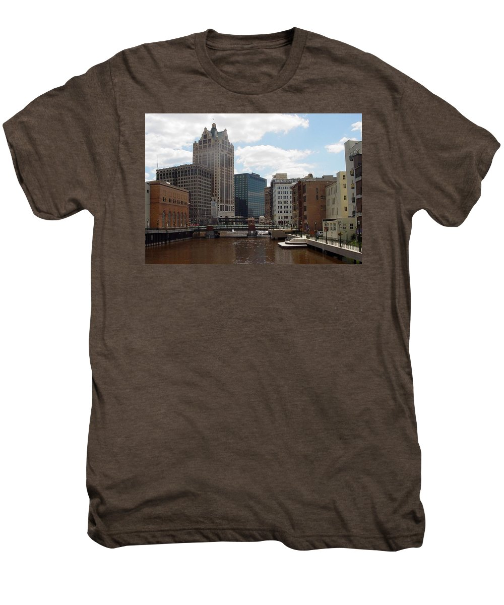 Milwaukee Men's Premium T-Shirt featuring the photograph River View by Anita Burgermeister