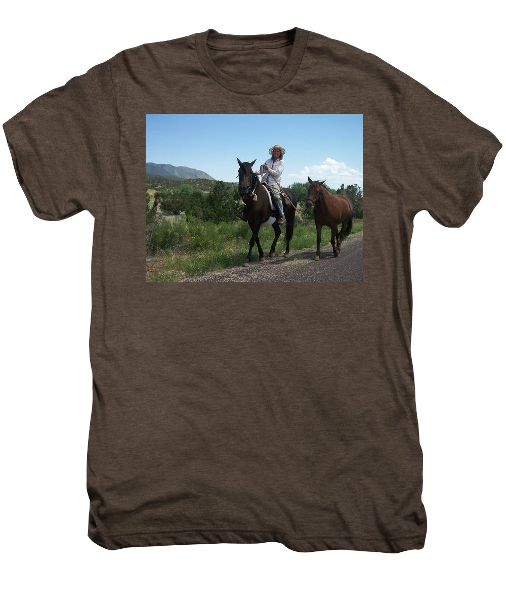 Horses Men's Premium T-Shirt featuring the photograph Roadside Horses by Anita Burgermeister
