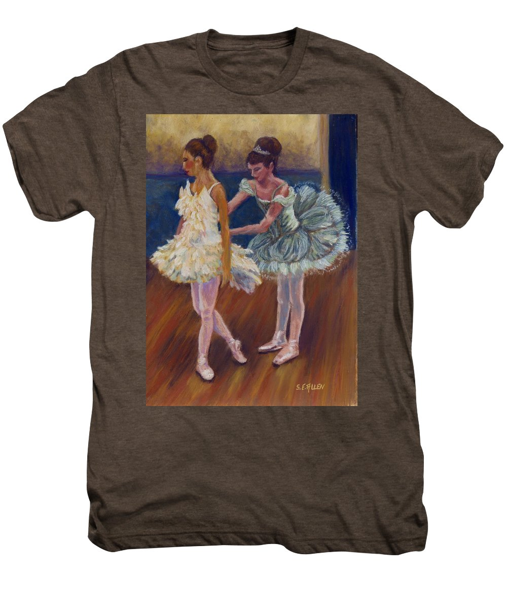 Ballerina Men's Premium T-Shirt featuring the painting Ruffled Feathers by Sharon E Allen