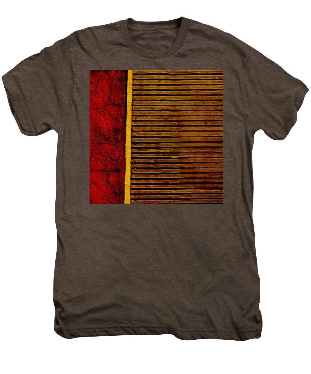 Rustic Men's Premium T-Shirt featuring the painting Rustic Abstract One by Michelle Calkins