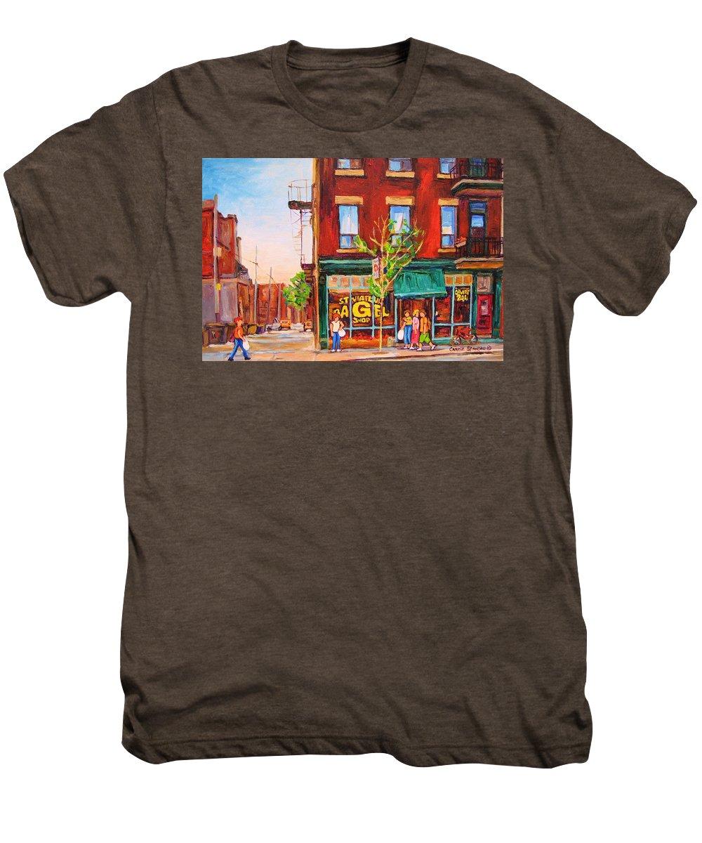 Montreal Men's Premium T-Shirt featuring the painting Saint Viateur Bagel by Carole Spandau