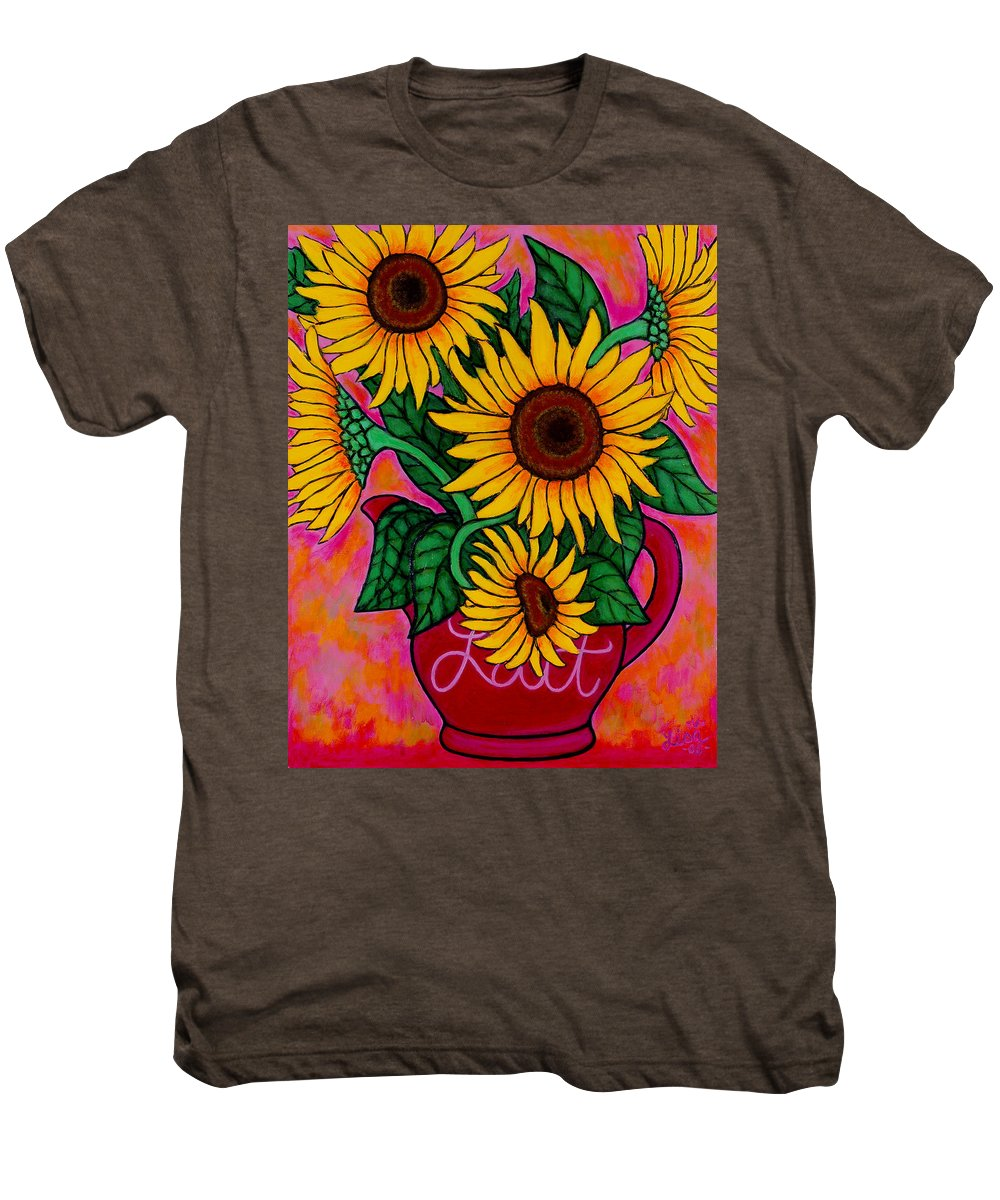 Sunflowers Men's Premium T-Shirt featuring the painting Saturday Morning Sunflowers by Lisa Lorenz