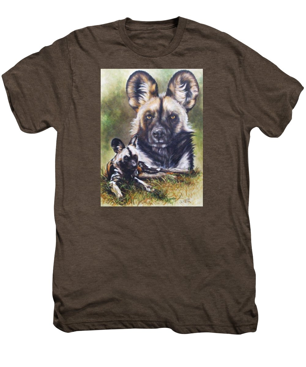 Wild Dogs Men's Premium T-Shirt featuring the mixed media Scoundrel by Barbara Keith