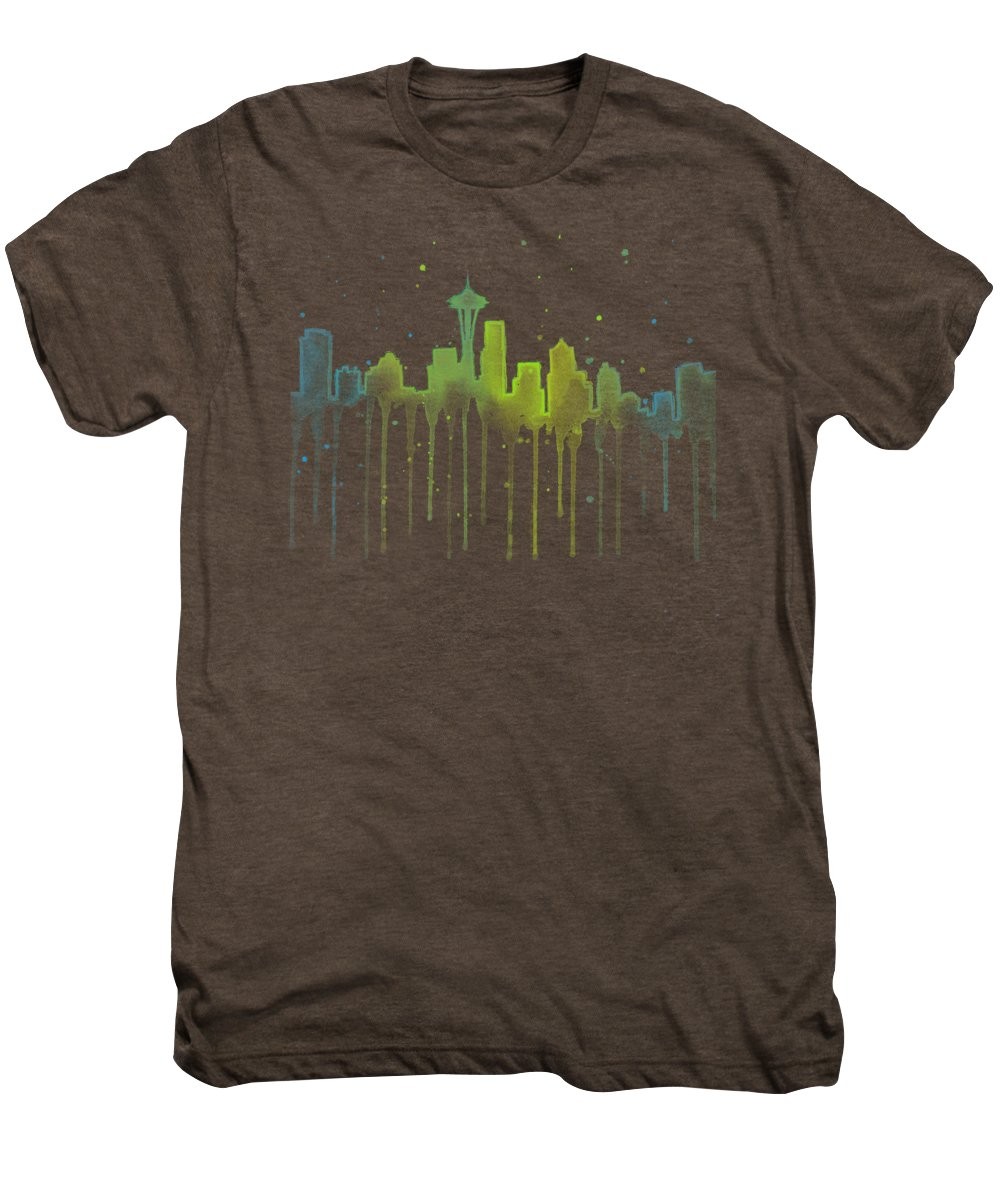 Seattle Men's Premium T-Shirt featuring the painting Seattle Skyline Watercolor by Olga Shvartsur
