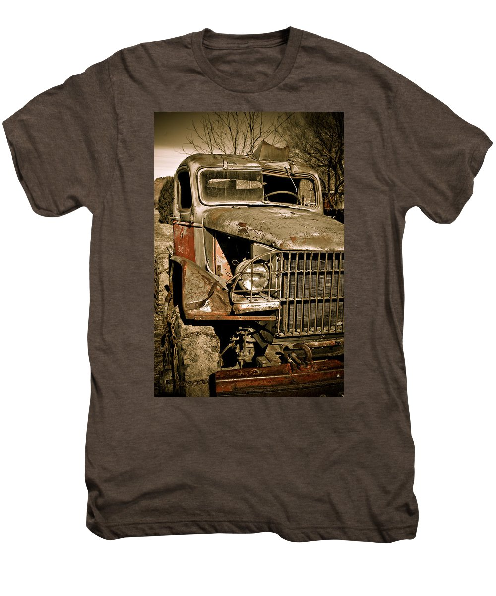Old Vintage Antique Truck Worn Western Men's Premium T-Shirt featuring the photograph Seen Better Days by Marilyn Hunt