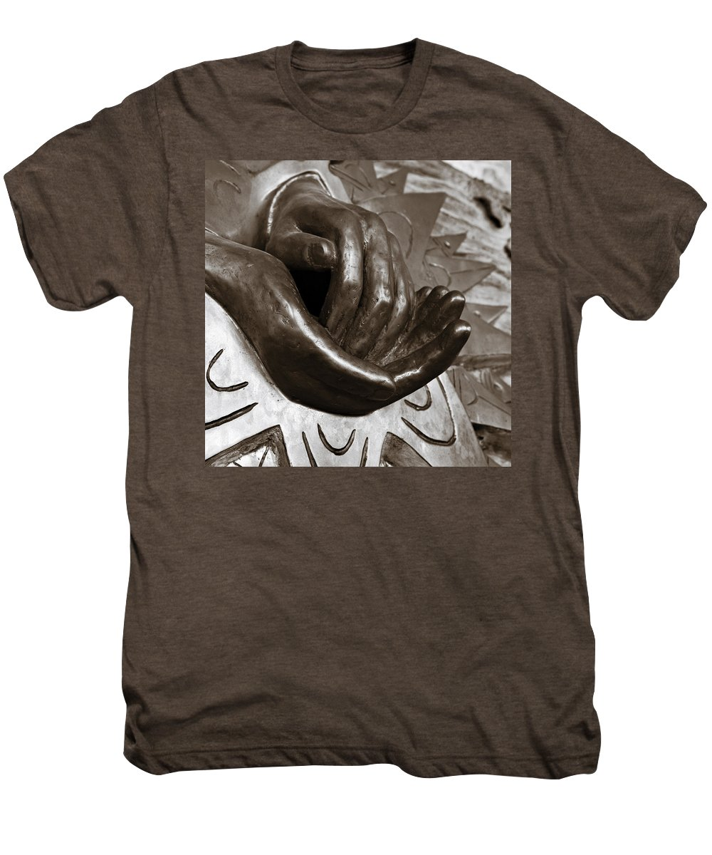 Hands Men's Premium T-Shirt featuring the photograph Sharing Hands by Marilyn Hunt