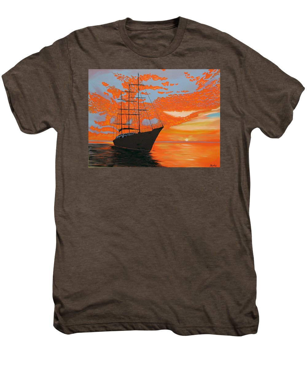 Seascape Men's Premium T-Shirt featuring the painting Sittin' On The Bay by Marco Morales