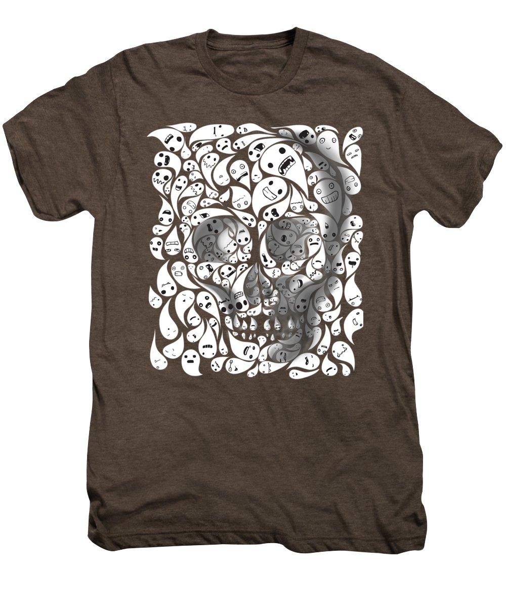 Skull Men's Premium T-Shirt featuring the painting Skull Doodle by Sassan Filsoof