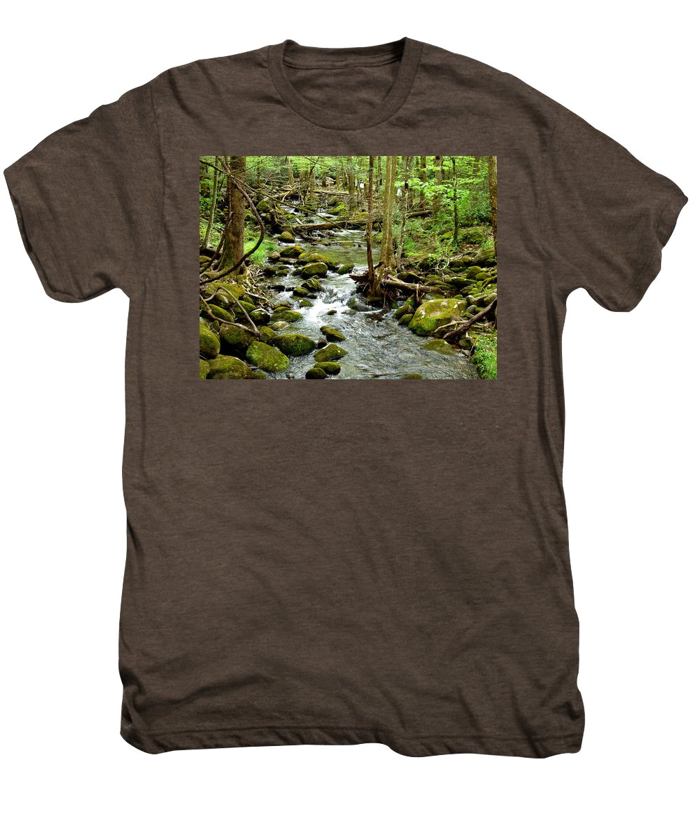 Smoky Mountains Men's Premium T-Shirt featuring the photograph Smoky Mountain Stream 1 by Nancy Mueller