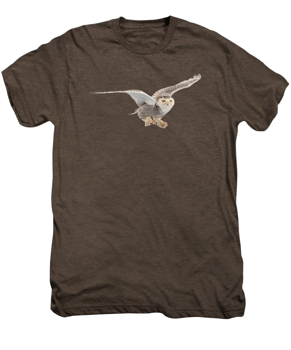 Snowy Men's Premium T-Shirt featuring the photograph Snowy Owl T-shirt Mug Graphic by Everet Regal