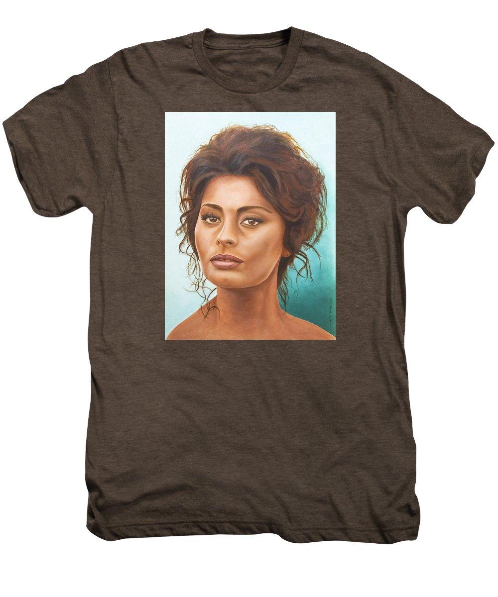 Moviestar Men's Premium T-Shirt featuring the painting Sophia Loren by Rob De Vries