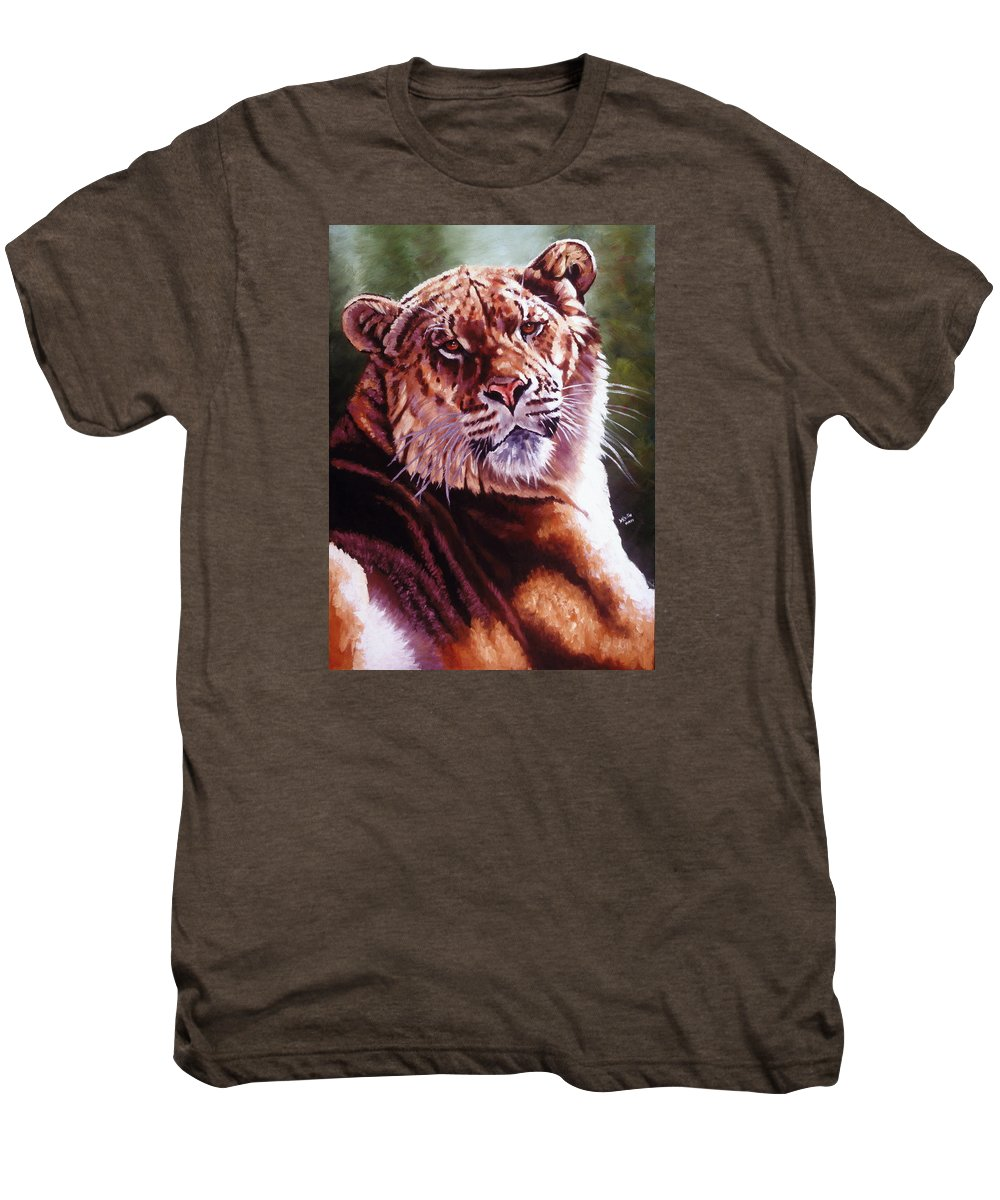 Hybrid Men's Premium T-Shirt featuring the painting Sophie The Liger by Barbara Keith