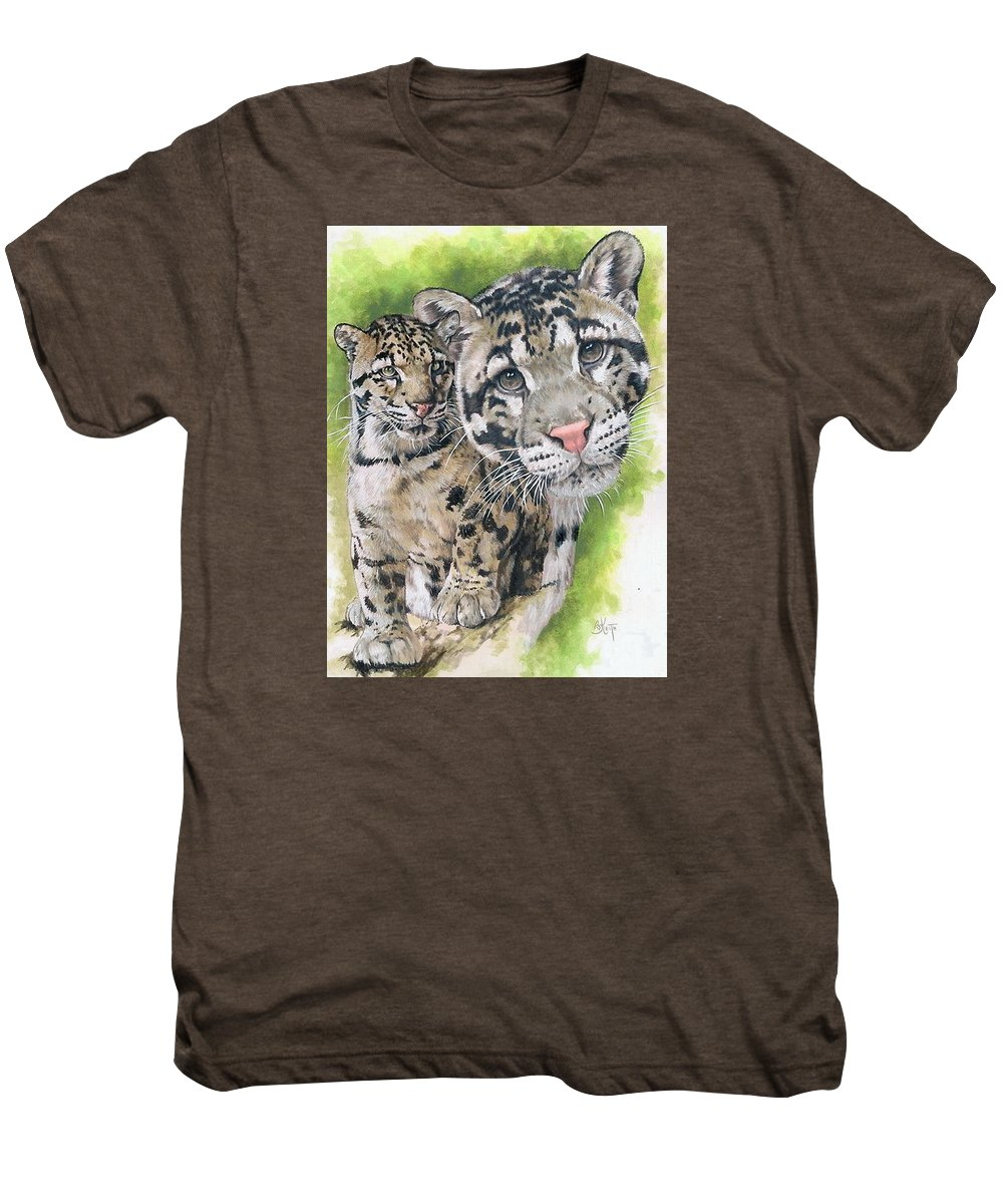 Clouded Leopard Men's Premium T-Shirt featuring the mixed media Sovereignty by Barbara Keith