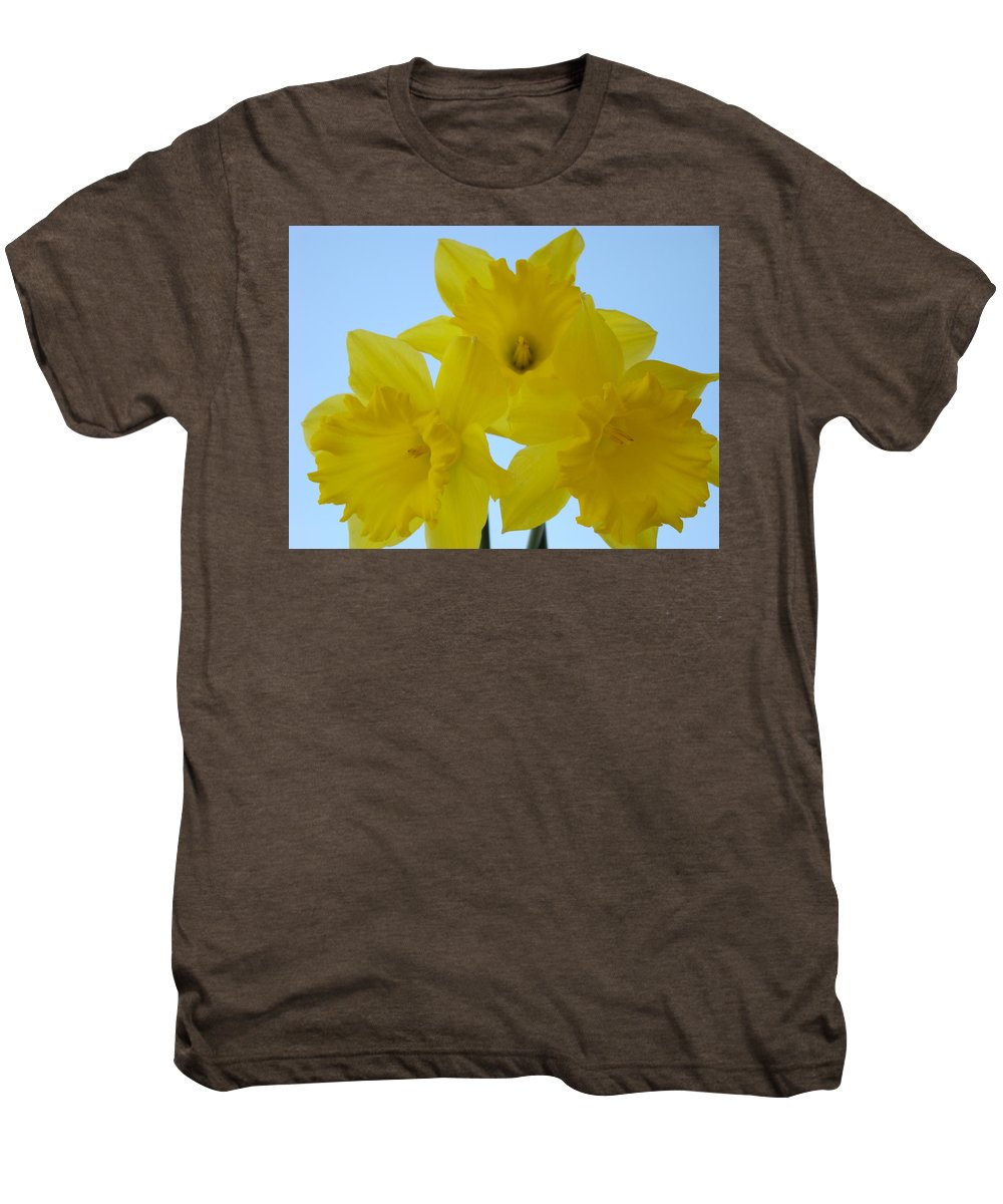 �daffodils Artwork� Men's Premium T-Shirt featuring the photograph Spring Daffodils 2 Flowers Art Prints Gifts Blue Sky by Baslee Troutman