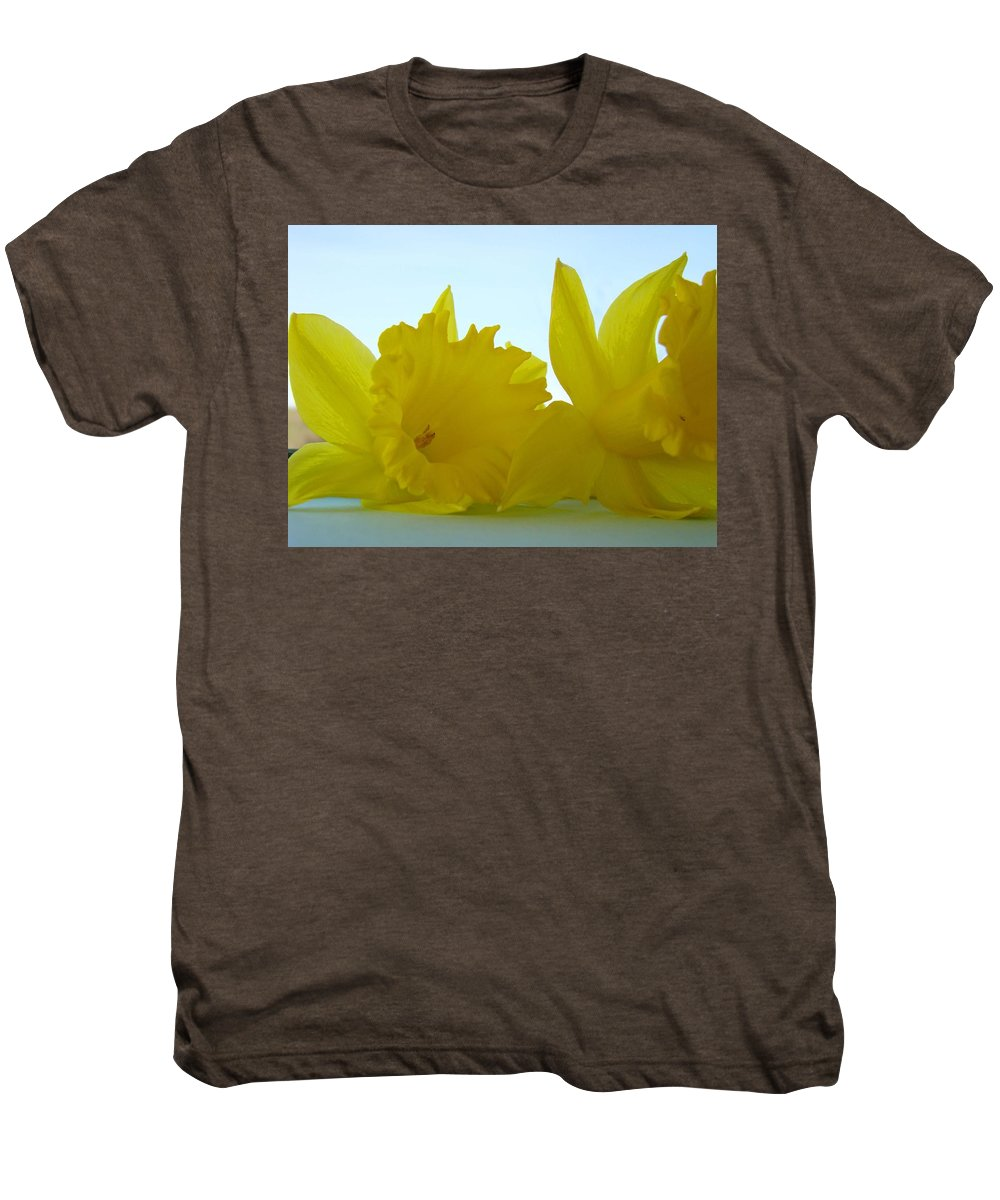 �daffodils Artwork� Men's Premium T-Shirt featuring the photograph Spring Daffodils Flowers Art Prints Blue Skies by Baslee Troutman