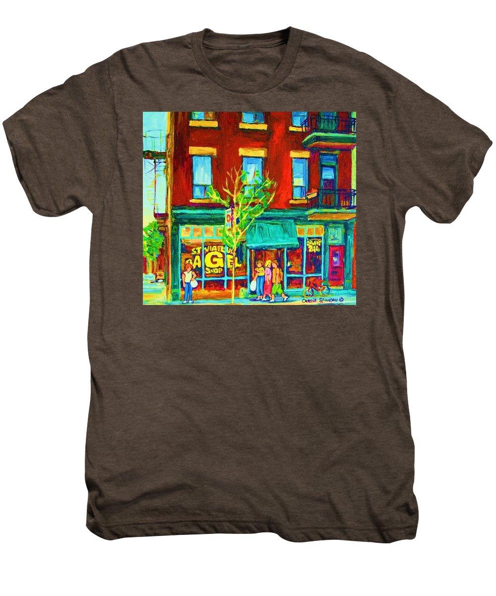 St. Viateur Bagel Shop Men's Premium T-Shirt featuring the painting St Viateur Bagel Shop by Carole Spandau
