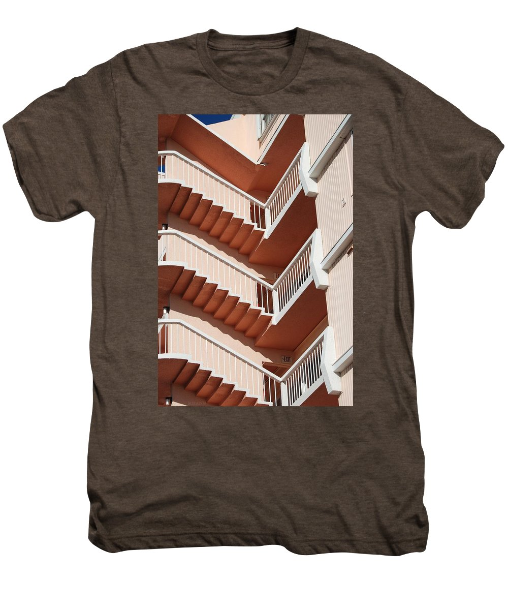 Architecture Men's Premium T-Shirt featuring the photograph Stairs And Rails by Rob Hans