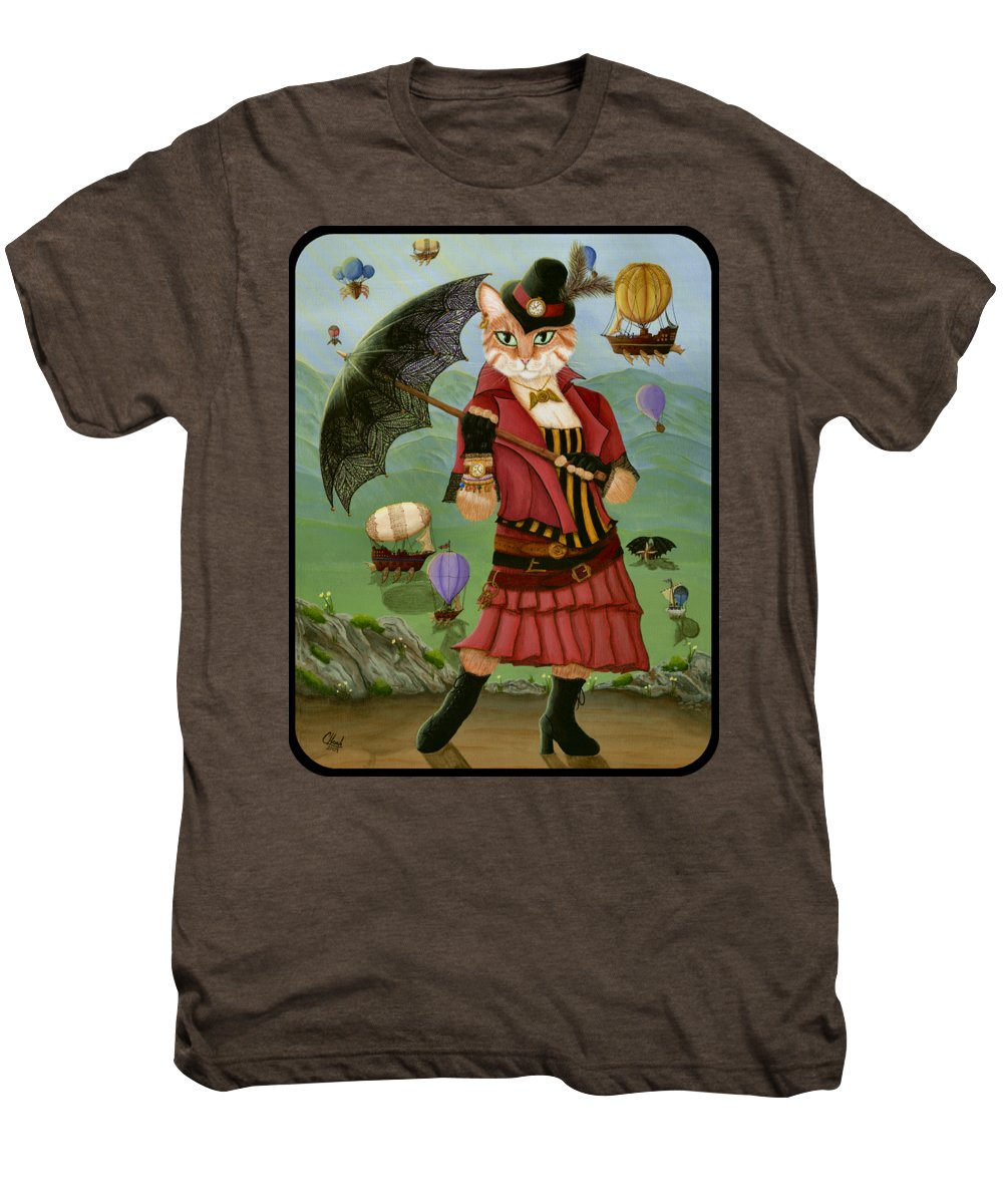 Steampunk Men's Premium T-Shirt featuring the painting Steampunk Cat Gal - Victorian Cat by Carrie Hawks