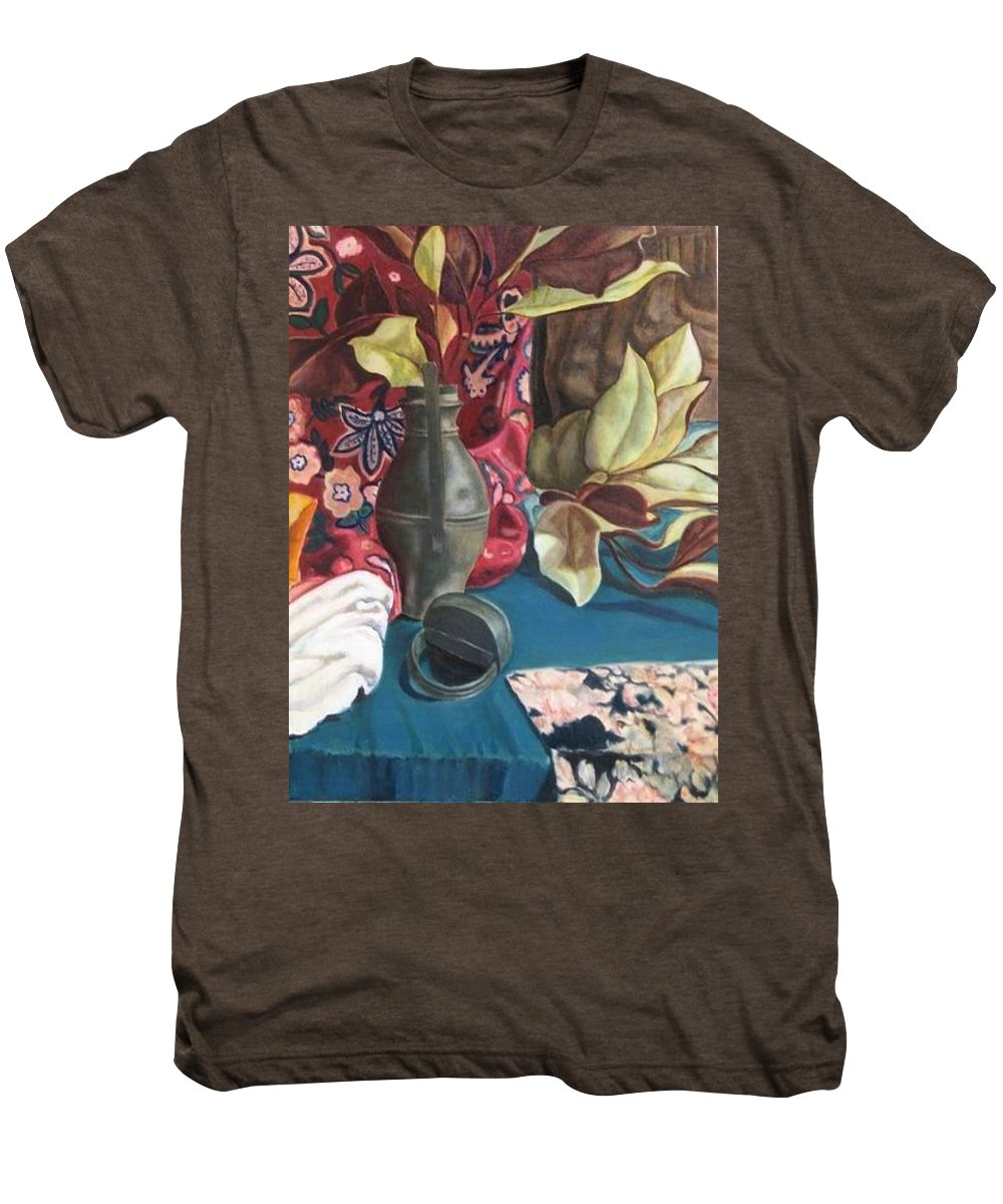 Still-life Men's Premium T-Shirt featuring the painting Still-life With Magnolia Leaves by Piety Choi