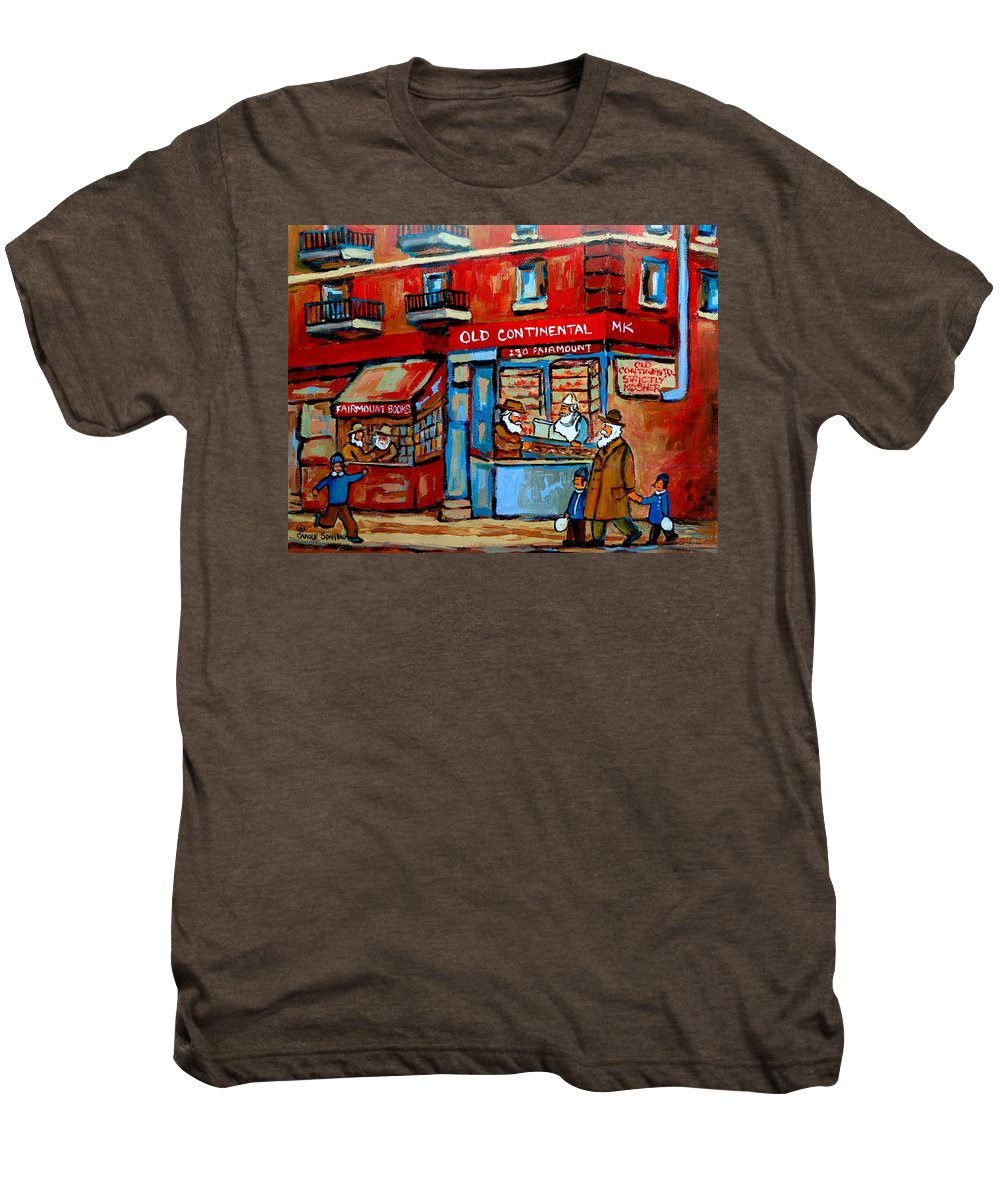 Old Continental On Fairmount Men's Premium T-Shirt featuring the painting Strictly Kosher by Carole Spandau