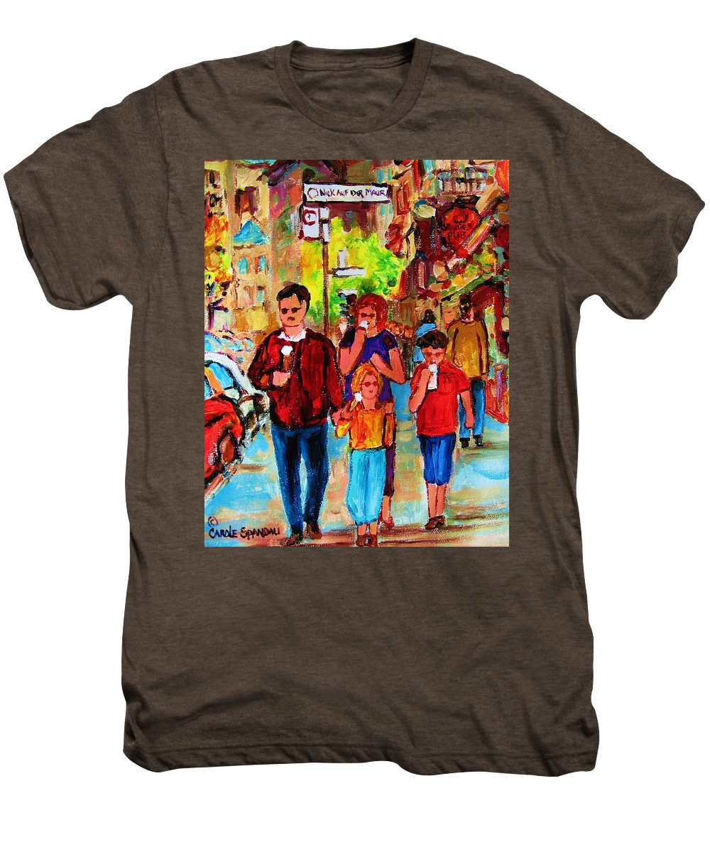 Montreal Streetscenes Men's Premium T-Shirt featuring the painting Summer In The City by Carole Spandau