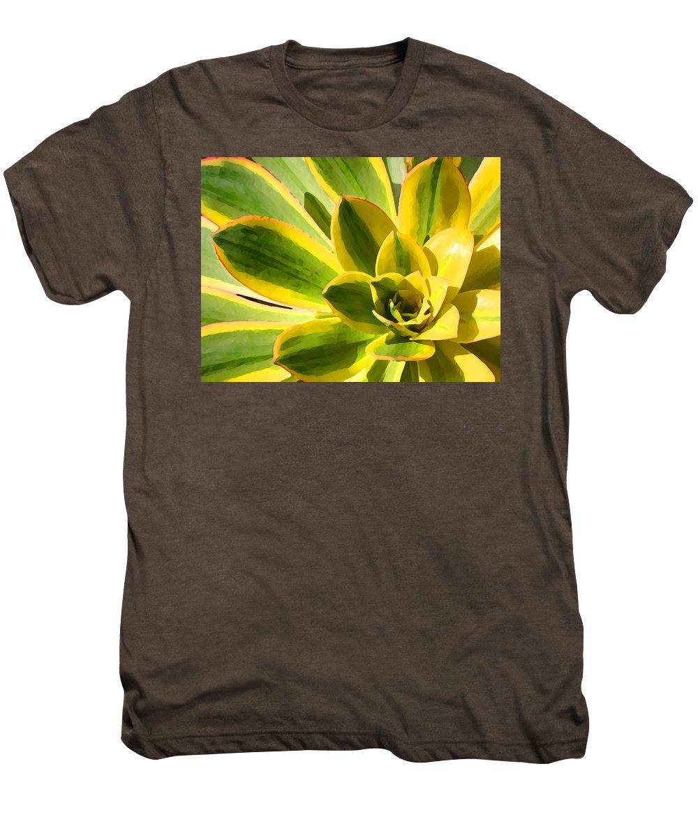 Landscape Men's Premium T-Shirt featuring the photograph Sunburst Succulent Close-up 2 by Amy Vangsgard