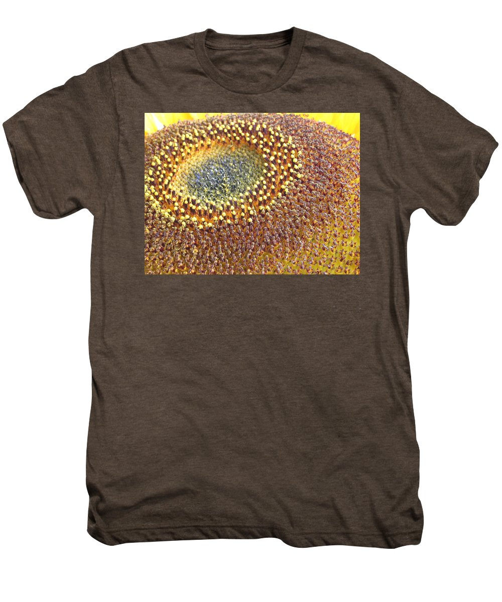 Sunflower Men's Premium T-Shirt featuring the photograph Sunflower Heart by Line Gagne