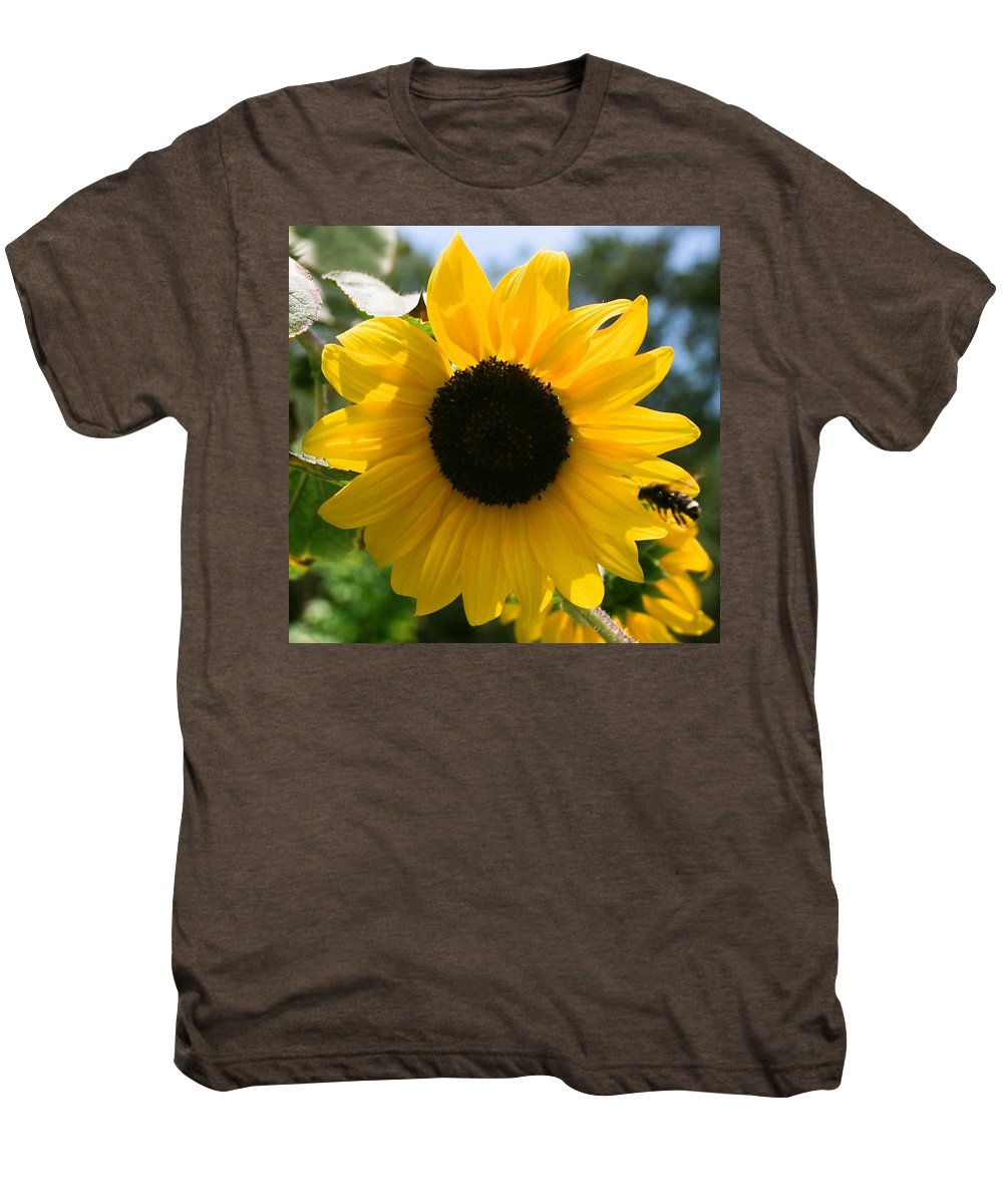 Flower Men's Premium T-Shirt featuring the photograph Sunflower With Bee by Dean Triolo