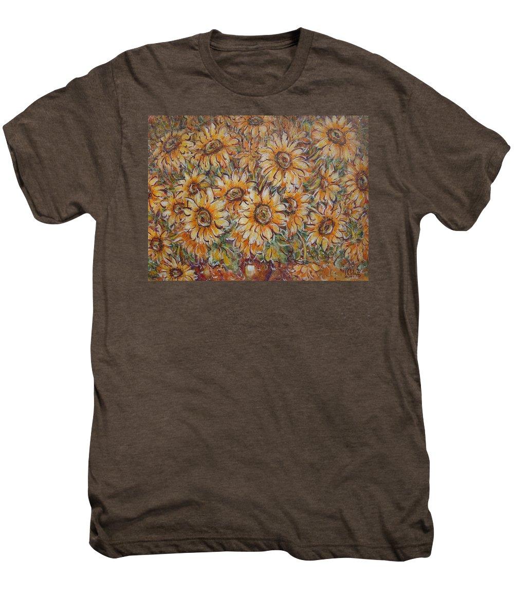 Flowers Men's Premium T-Shirt featuring the painting Sunlight Bouquet. by Natalie Holland