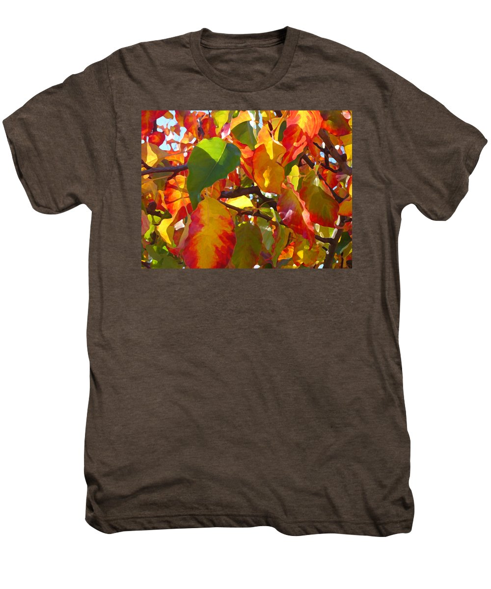Fall Leaves Men's Premium T-Shirt featuring the photograph Sunlit Fall Leaves by Amy Vangsgard