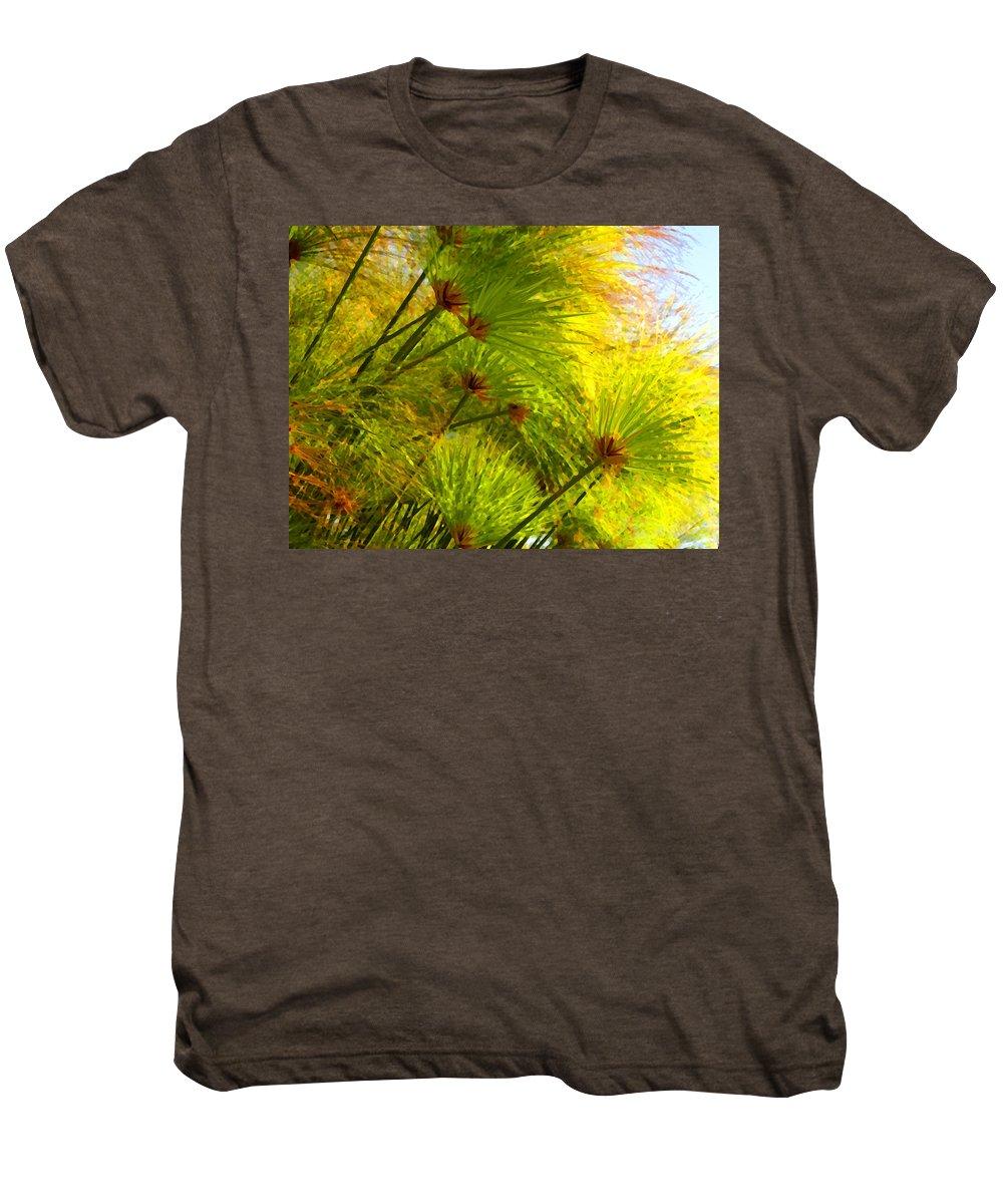 Landscape Men's Premium T-Shirt featuring the painting Sunlit Paparus by Amy Vangsgard