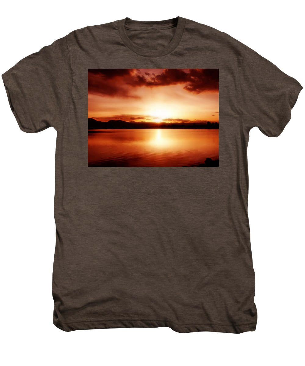 Lake Men's Premium T-Shirt featuring the photograph Sunset by Marilyn Hunt