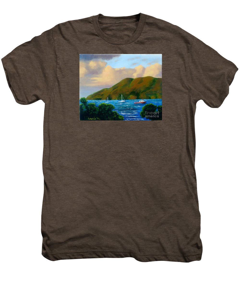 Sunset Men's Premium T-Shirt featuring the painting Sunset On Cruz Bay by Laurie Morgan