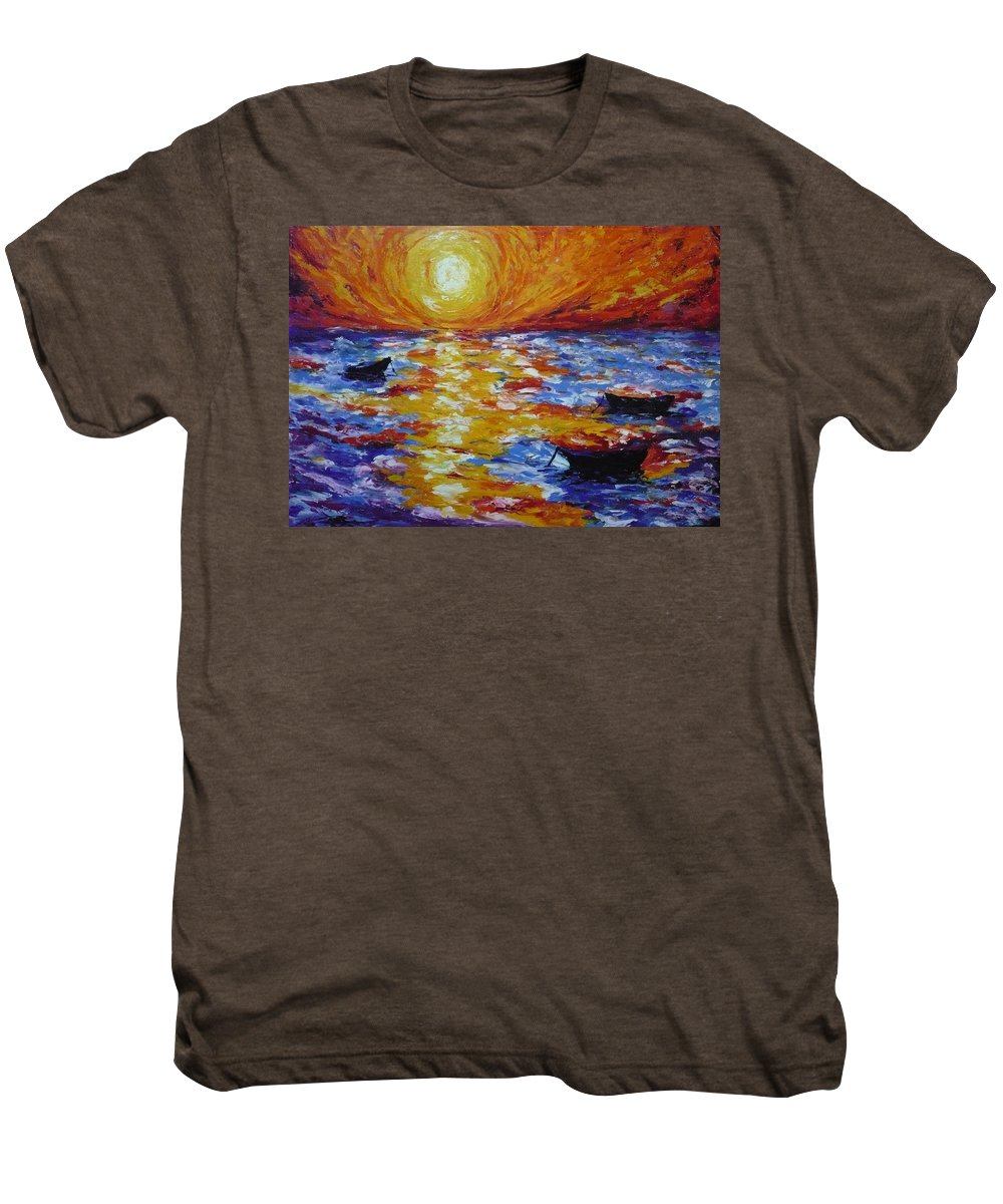 Landscape Men's Premium T-Shirt featuring the painting Sunset With Three Boats by Ericka Herazo