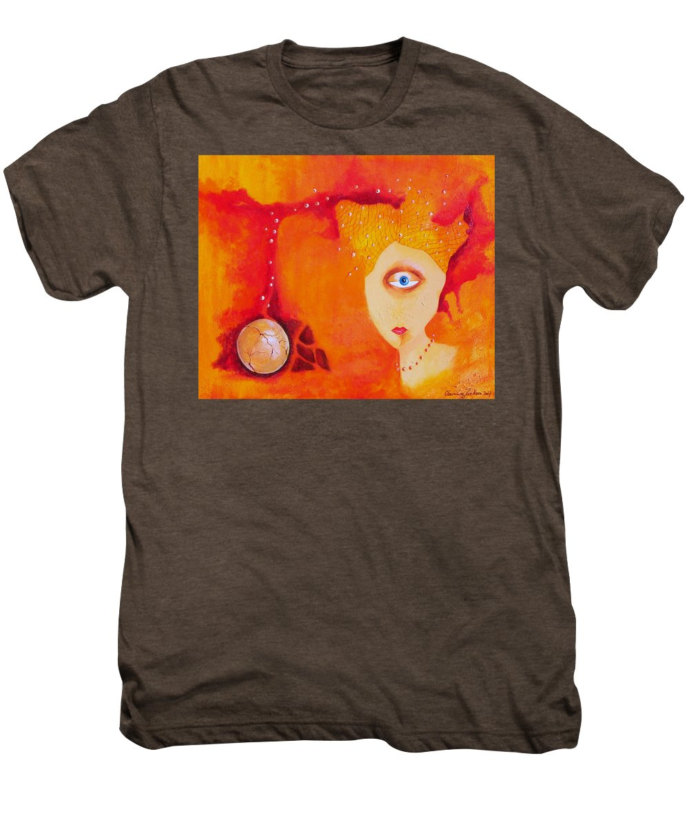 Tangerine Orange Eyes Woman Pearls Thoughts Life Egg Men's Premium T-Shirt featuring the painting Tangerine Dream by Veronica Jackson