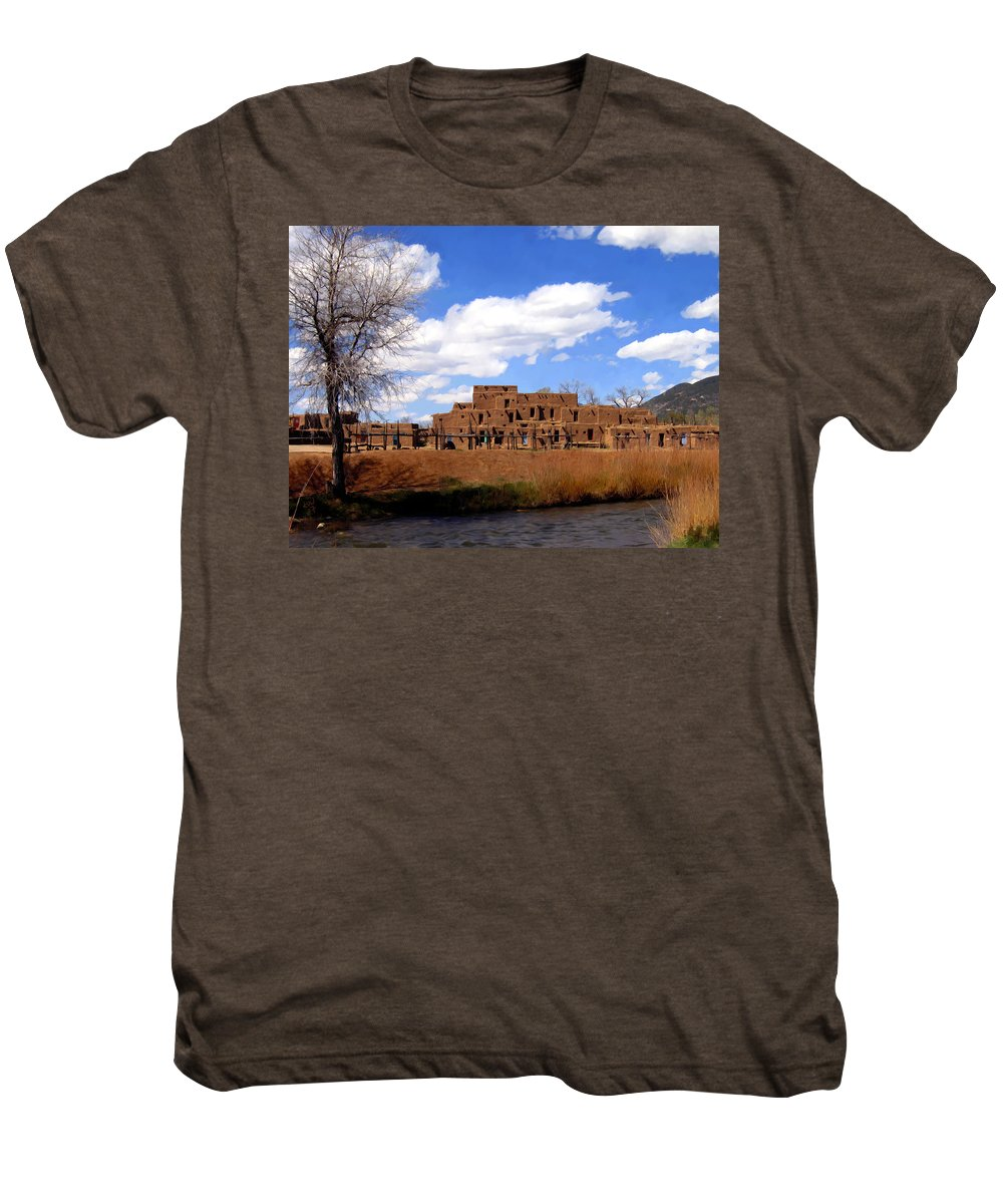 Taos Men's Premium T-Shirt featuring the photograph Taos Pueblo Early Spring by Kurt Van Wagner