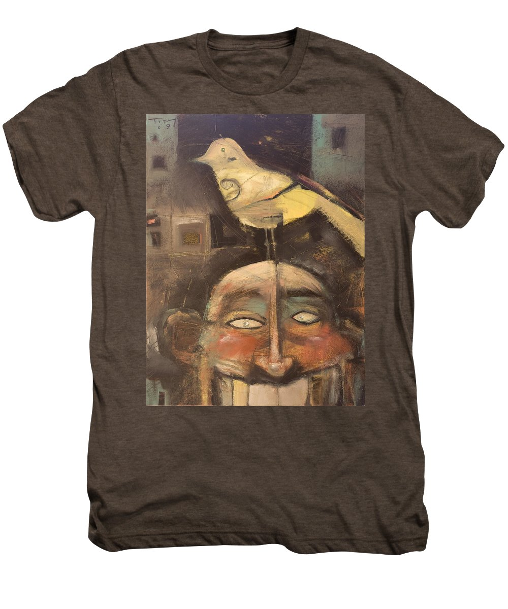 Bird Men's Premium T-Shirt featuring the painting The Birdman Of Alcatraz by Tim Nyberg