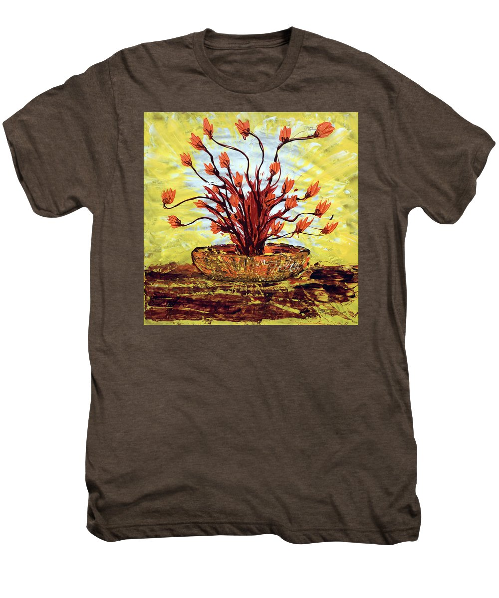 Red Bush Men's Premium T-Shirt featuring the painting The Burning Bush by J R Seymour